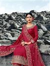 photo of Chic Satin Georgette Fabric Festive Wear Embroidered Palazzo Dress In Red Color
