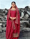 image of Chic Satin Georgette Fabric Festive Wear Embroidered Palazzo Dress In Red Color