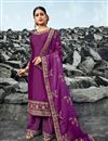 image of Festive Wear Chic Satin Georgette Fabric Purple Color Embroidered Palazzo Suit