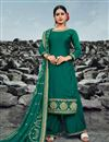 image of Festive Wear Dark Green Color Chic Embroidered Satin Georgette Fabric Palazzo Suit