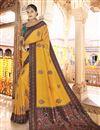 image of Sangeet Wear Art Silk Fabric Printed Saree In Mustard Color