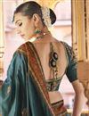 photo of Teal Color Sangeet Wear Art Silk Fabric Printed Saree