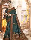 image of Teal Color Sangeet Wear Art Silk Fabric Printed Saree
