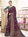 image of Sangeet Wear Art Silk Fabric Printed Saree In Wine Color
