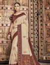 image of Art Silk Fabric Wedding Wear Designer Saree In Beige Color
