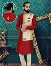 image of Maroon Color Fancy Readymade Mens Sherwani In Brocade Fabric