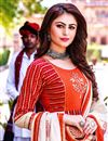 photo of Fancy Function Wear Red Color Cotton Fabric Long Kurti With Dupatta