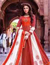 image of Fancy Function Wear Red Color Cotton Fabric Long Kurti With Dupatta