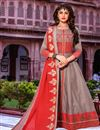 image of Grey Color Festive Wear Long Kurti With Dupatta In Cotton Fabric
