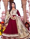 image of Cotton Fabric Maroon Color Party Wear Simple Long Kurti With Dupatta