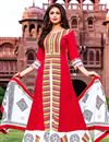 image of Red Color Function Wear Stylish Cotton Fabric Long Kurti With Dupatta