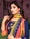 photo of Cotton Fabric Fancy Office Wear Long Kurti With Dupatta In Blue Color