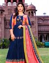 image of Cotton Fabric Fancy Office Wear Long Kurti With Dupatta In Blue Color