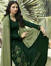 photo of Art Silk Fabric Regular Wear Dark Green Color Stone Work Palazzo Suit