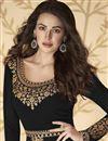 photo of Black Color Sangeet Wear Embroidered Floor Length Anarkali Dress In Georgette
