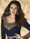 photo of Sangeet Wear Navy Blue Color Georgette Embroidered Long Length Anarkali Suit