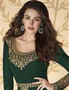 photo of Sangeet Wear Embroidered Floor Length Dark Green Color Anarkali Dress In Georgette