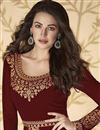 photo of Sangeet Wear Maroon Color Long Length Georgette Embroidered Anarkali Suit