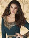 photo of Georgette Sangeet Wear Teal Color Long Length Embroidered Anarkali Suit