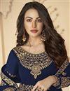 photo of Sangeet Wear Navy Blue Color Georgette Embroidered Floor Length Anarkali Suit