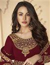 photo of Sangeet Wear Maroon Color Floor Length Georgette Embroidered Anarkali Suit