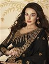 photo of Black Function Wear Embroidered Floor Length Anarkali Dress In Georgette Fabric