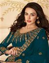photo of Georgette Fabric Function Wear Teal Color Long Length Embroidered Anarkali Suit