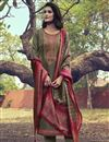 image of Dark Beige Color Art Silk Fabric Function Wear Embroidered Suit