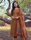 image of Embroidery Work Rust Color Art Silk Fabric Salwar Suit