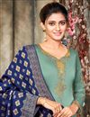 photo of Satin Georgette Fabric Sea Green Color Party Wear Salwar Suit