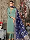 image of Satin Georgette Fabric Sea Green Color Party Wear Salwar Suit