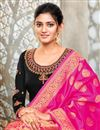 photo of Black Color Satin Georgette Fabric Function Wear Embroidered Suit