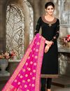 image of Black Color Satin Georgette Fabric Function Wear Embroidered Suit
