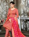 photo of Satin Georgette Festive Wear Peach Color Salwar Suit