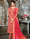 image of Satin Georgette Festive Wear Peach Color Salwar Suit