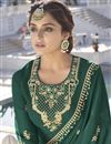 photo of Function Wear Trendy Dark Green Color Georgette Fabric Readymade Sharara Dress