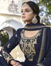 photo of Georgette Fabric Navy Blue Color Function Wear Trendy Readymade Sharara Suit