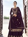 image of Purple Color Function Wear Georgette Fabric Trendy Readymade Sharara Suit