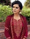 photo of Maroon Color Embroidered Cotton Silk Fabric Party Wear Palazzo Salwar Kameez