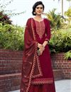 image of Maroon Color Embroidered Cotton Silk Fabric Party Wear Palazzo Salwar Kameez