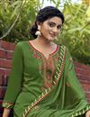 photo of Embroidery Work Green Color Cotton Silk Fabric Function Wear Palazzo Salwar Suit