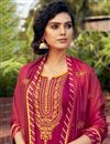 photo of Embroidered Cotton Silk Fabric Rani Color Function Wear Palazzo Suit