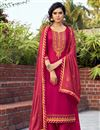 image of Embroidered Cotton Silk Fabric Rani Color Function Wear Palazzo Suit
