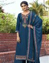 image of Navy Blue Color Cotton Silk Fabric Occasion Wear Palazzo Suit