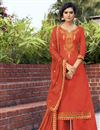 image of Orange Color Cotton Silk Fabric Function Wear Embroidered Palazzo Suit