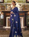 image of Satin Silk Fabric Puja Wear Fancy Blue Weaving Work Saree