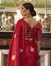 photo of Puja Wear Red Fancy Satin Silk Fabric Weaving Work Saree