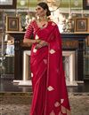 image of Puja Wear Red Fancy Satin Silk Fabric Weaving Work Saree
