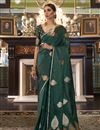 image of Puja Wear Satin Silk Fabric Fancy Weaving Work Saree In Dark Green