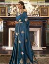 image of Satin Silk Fabric Fancy Puja Wear Teal Weaving Work Saree